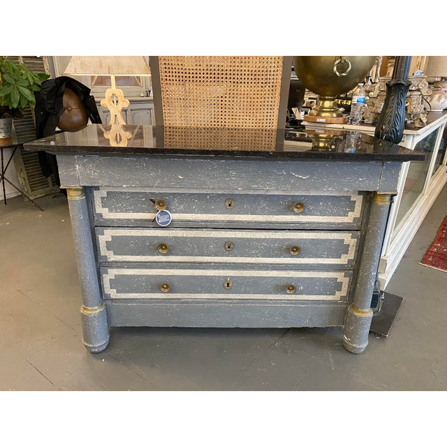 19th Century French Empire Neoclassical Painted Commode For Sale - Image 13 of 13