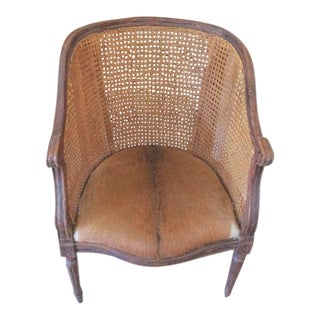 Cow Hide & Cane Bergere Chair French Loius Chair