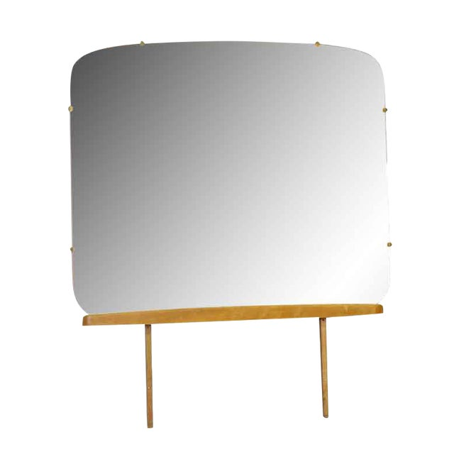 Rounded Square Dresser Mirror With Wooden Base For Sale