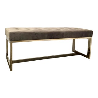 Caracole Modern Taupe Velvet Sit by Me Bench For Sale