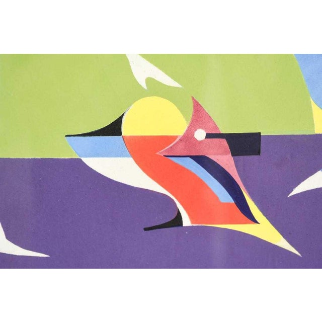 Lyrical guache on board, beautiful movement and composition. Vivid colors. Signed M Shafoff and dated 1993, Framed.