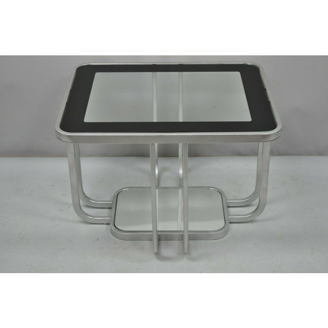 20th Century Art Deco Style 2 Tiered Metal & Glass Side End Table For Sale - Image 11 of 12