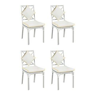 Haven Outdoor Dining Chair, Canvas White with Sunflower Yellow Welt, Set of Four For Sale