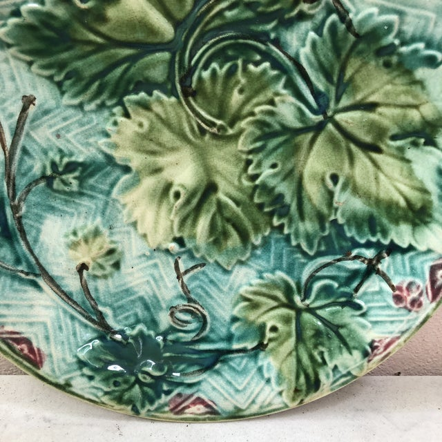 French Country French Majolica Grape Leaves Plate Onnaing, Circa 1900 For Sale - Image 3 of 6