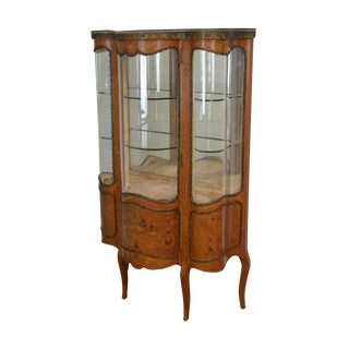 French Louis XV Style Antique Marquetry Inlaid Serpentine Bow Glass Vitrine Curio Cabinet For Sale