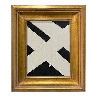 Ron Giusti Mini Abstract Black Cream Acrylic Painting, Framed For Sale