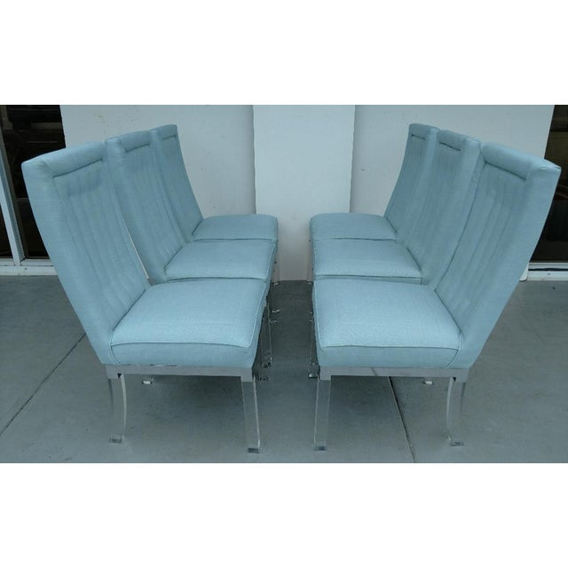 1970s Charles Hollis Jones 1970's Lucite Legged High-Back Dining Chairs - Set of 6, Mid-Century Modern For Sale - Image 5 of 13