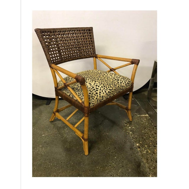 Hickory White Woven Leather and Bamboo Dining Chairs With Round Wood Table Set For Sale - Image 9 of 13