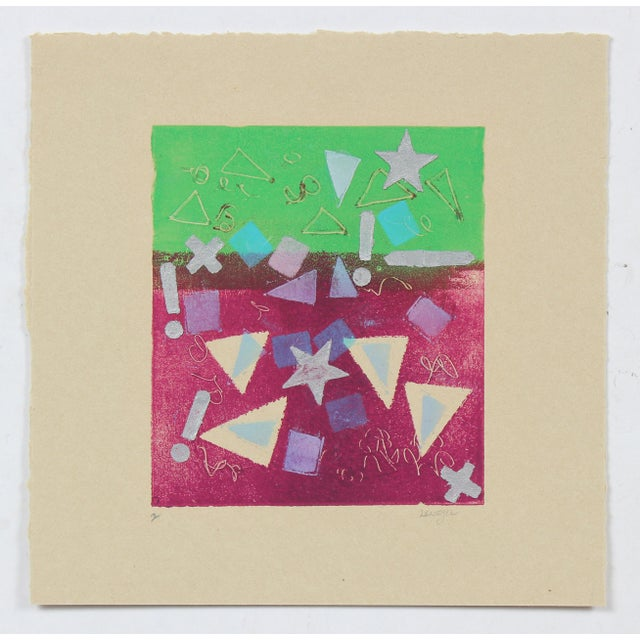 """This 1987 green and pink monotype on paper with starts and triangles entitled """"Concept II"""" is by Bay Area painter and..."""