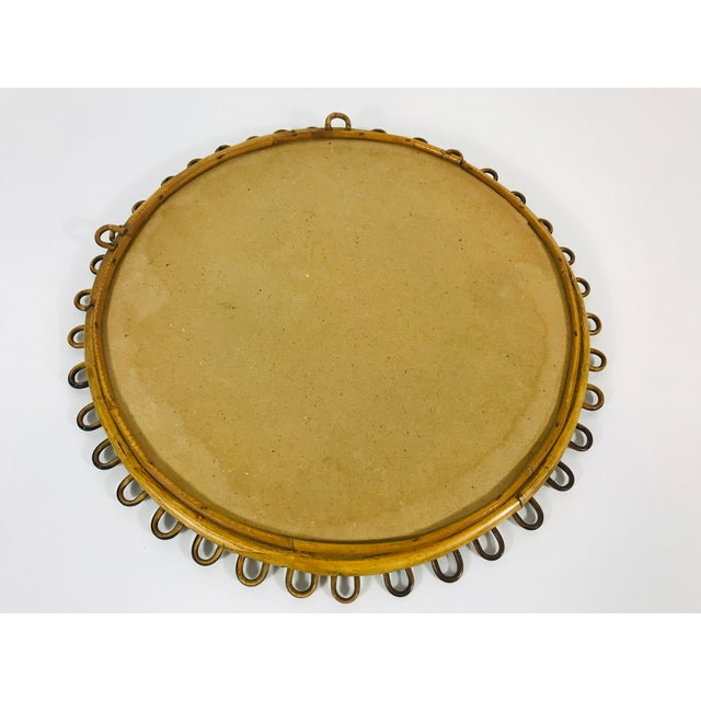 Brown 1960s Mid-Century Modern Round Bamboo Wall Mirror, Italy For Sale - Image 8 of 9