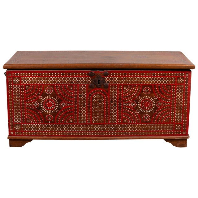 Antique Madura Blanket Chest With Inlaid Mother-Of-Pearl Red Geometric Decor For Sale - Image 13 of 13