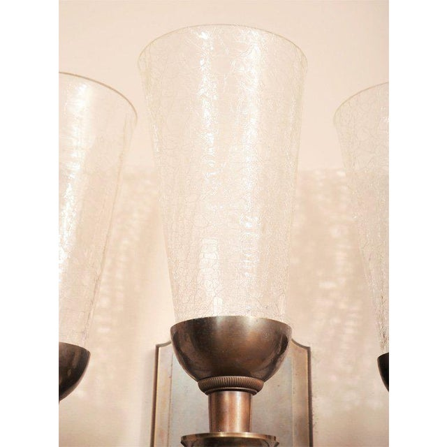 Art Deco Pair of Monumental 1940s Wall Sconces For Sale - Image 3 of 8