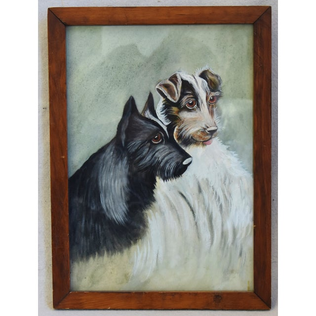 Glass Midcentury Watercolor Painting of a Pair of Charming Dogs For Sale - Image 7 of 8