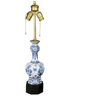 Pair of Delft Pottery Table Lamps For Sale