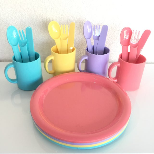 This fun collection of colorful dinnerware comes in the iconic 1980s pastels and ha been attributed to Carsten Jorgensen...
