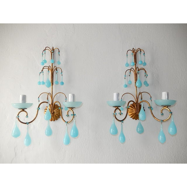1920s French Blue Opaline Bobeches Drops & Beads Sconces - a Pair For Sale - Image 12 of 12
