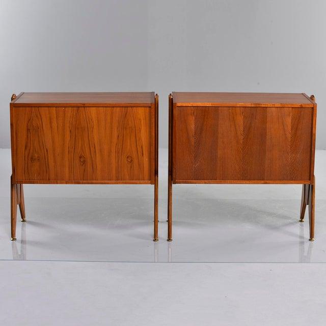 Italian Pair Mid Century Italian Adjustable Height Teak Side Cabinets For Sale - Image 3 of 13