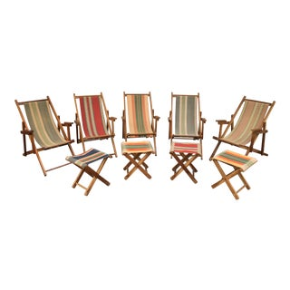 1950s Mid-Century Modern Wooden Beach Folding Chairs and Stools - 9 Pieces