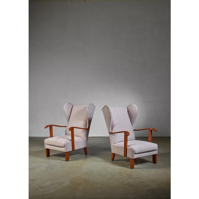 1930s Pair of Fritz Hansen Wingback Lounge Chairs, Denmark, 1930s For Sale - Image 5 of 5