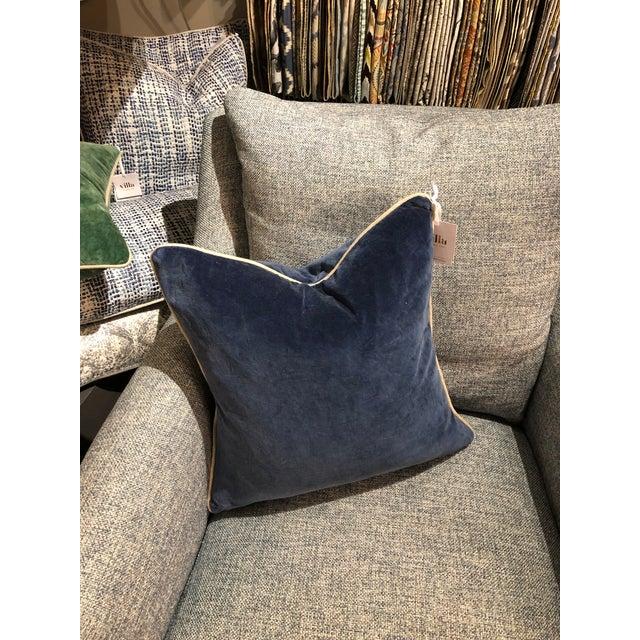 Contemporary Contemporary Classic Home Blue Velvet Pillow For Sale - Image 3 of 6
