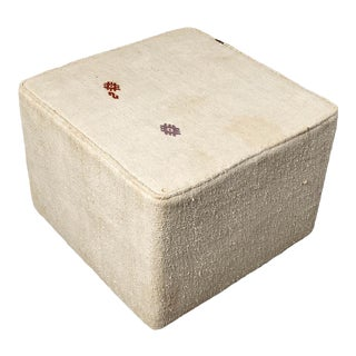 Vintage White Small Ottoman For Sale