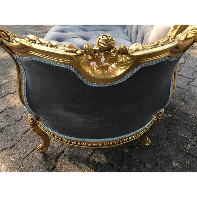 French Louis XVI Style Gray Settee For Sale - Image 4 of 8