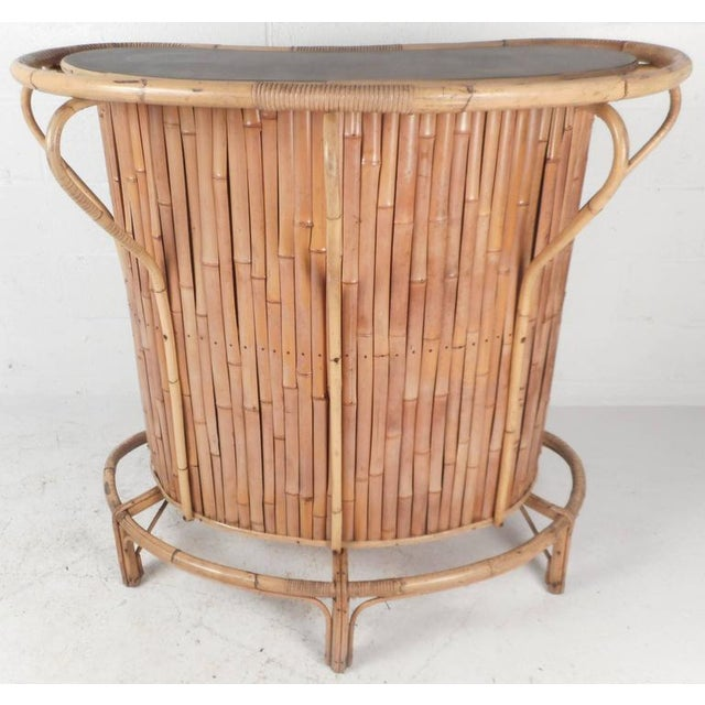 Mid-Century Modern Mid-Century Modern Bamboo Tiki Bar and Stools For Sale - Image 3 of 10