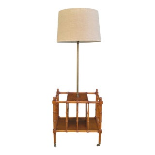 Frederick Cooper Faux Bamboo Magazine Rack Floor Lamp For Sale