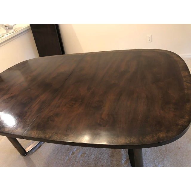 Asian Mastercraft Burl Wood and Brass Dining Table For Sale - Image 3 of 9