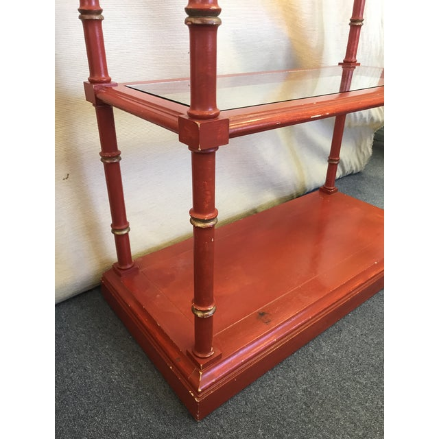 Chinese Chippendale Faux Bamboo and Glass Étagère For Sale - Image 10 of 11
