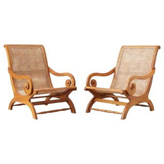 Pair of British Colonial Teak and Cane Plantation Chairs For Sale