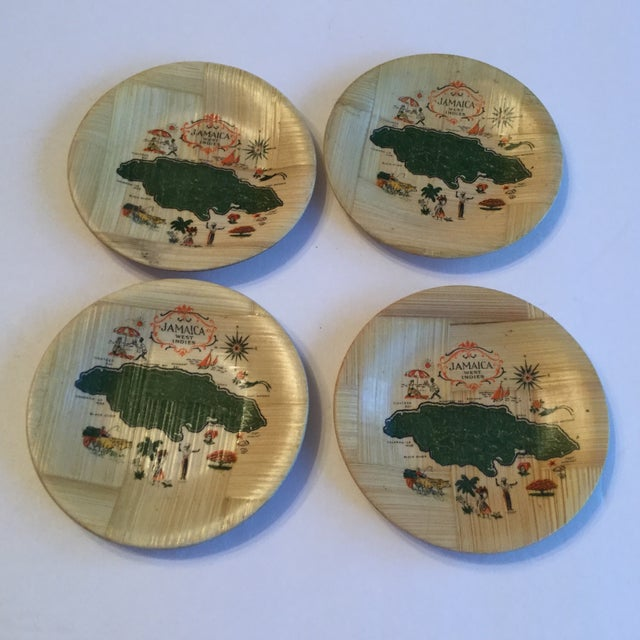 Jamaica Map Bamboo Coasters - Set of 4 For Sale In Birmingham - Image 6 of 6
