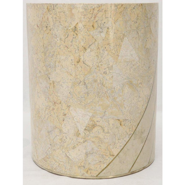 White Large Cylinder Tessellated Stone Veneer Brass Inlay Dining Table Base Pedestal For Sale - Image 8 of 13