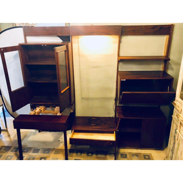 Mid 20th Century Midentury Rosewood Wall-Unit Including Table, Desk, Curio Cabinet and Light For Sale - Image 5 of 13