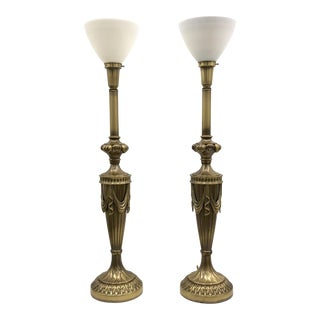 Monumental Rembrandt Brass Torchiere Table Lamps - A Pair For Sale