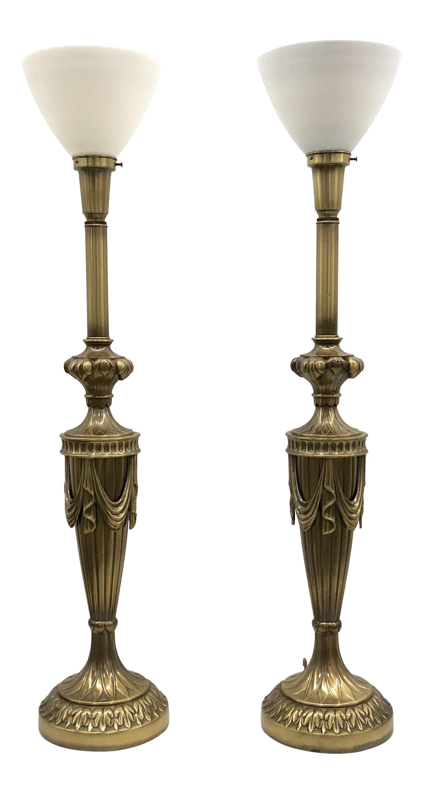 Monumental Rembrandt Brass Torchiere Table Lamps   A Pair