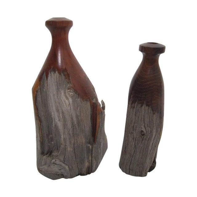 Mid Century Burl Wood Vases - Pair - Image 1 of 4