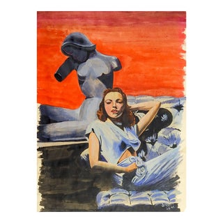 1940s Figurative Hollywood Glam Portrait Painting