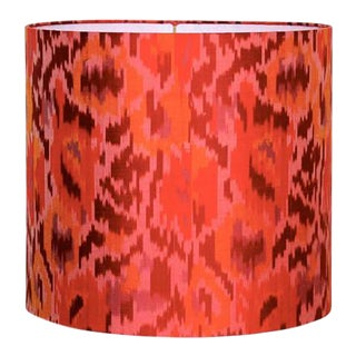 Orange Silk Multicolor Drum Lamp Shade