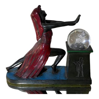 Antique Art Deco Bronze Patinated Egyptian Woman W Crystal Ball For Sale