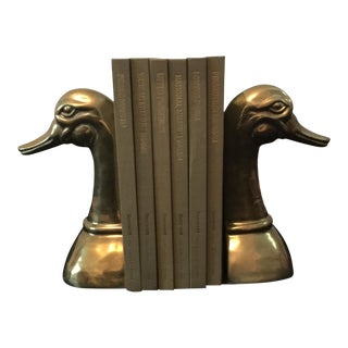 Duck Head Bookends by Sarreid - Mid-Century Grandiose Duck Book Supports - a Pair For Sale
