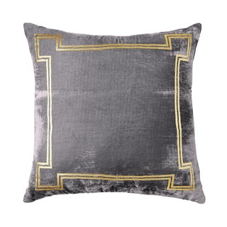 Aria Pewter Silk Velvet Pillow With Gold Foil Accents