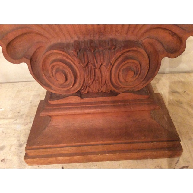 Wood Nautical Edward Wormley Style Shell Hall Table in Raw Mahogany For Sale - Image 7 of 10