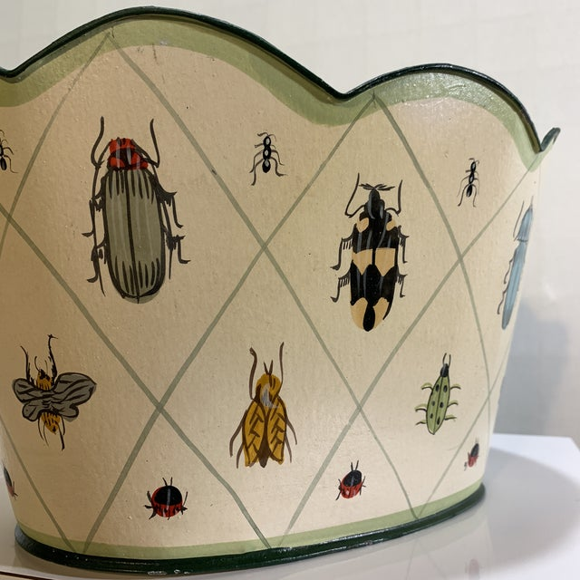 Cream Vintage Tole Painted Insect Motif Scalloped Edge Metal Planter For Sale - Image 8 of 12