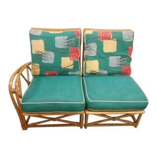 Heywood Wakefield Rattan Bamboo Chair Settee