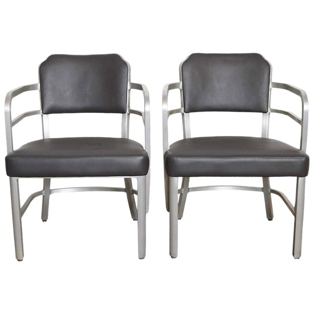 Pair of Machine Age Art Deco Leather GoodForm Armchairs Brushed Aluminum For Sale