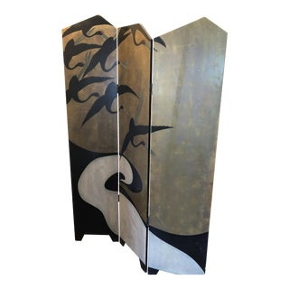 Asian Style Art Deco Room Divider Screen For Sale
