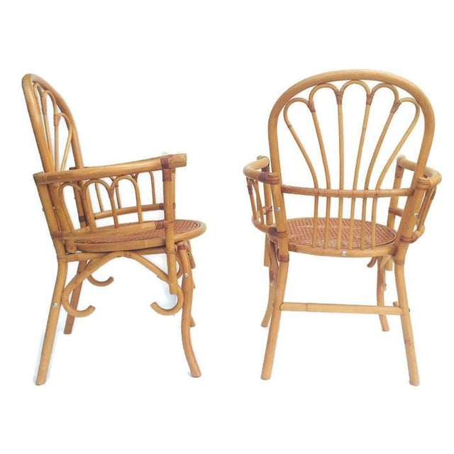 Tan 1980s Vintage Bent Bamboo Arm Chairs - a Pair For Sale - Image 8 of 13