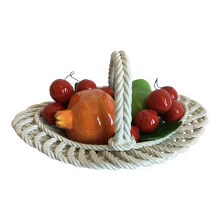 Mid-Century Italian Majolica Fruit Basket For Sale