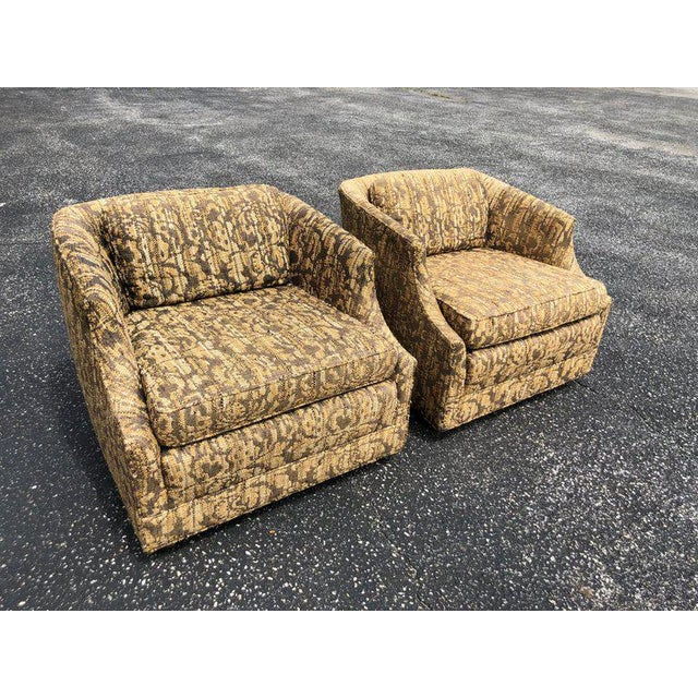 """Pair of Bernhardt """"Flair"""" club chairs. In 1958 a major new product category for Bernhardt, upholstered furniture was..."""